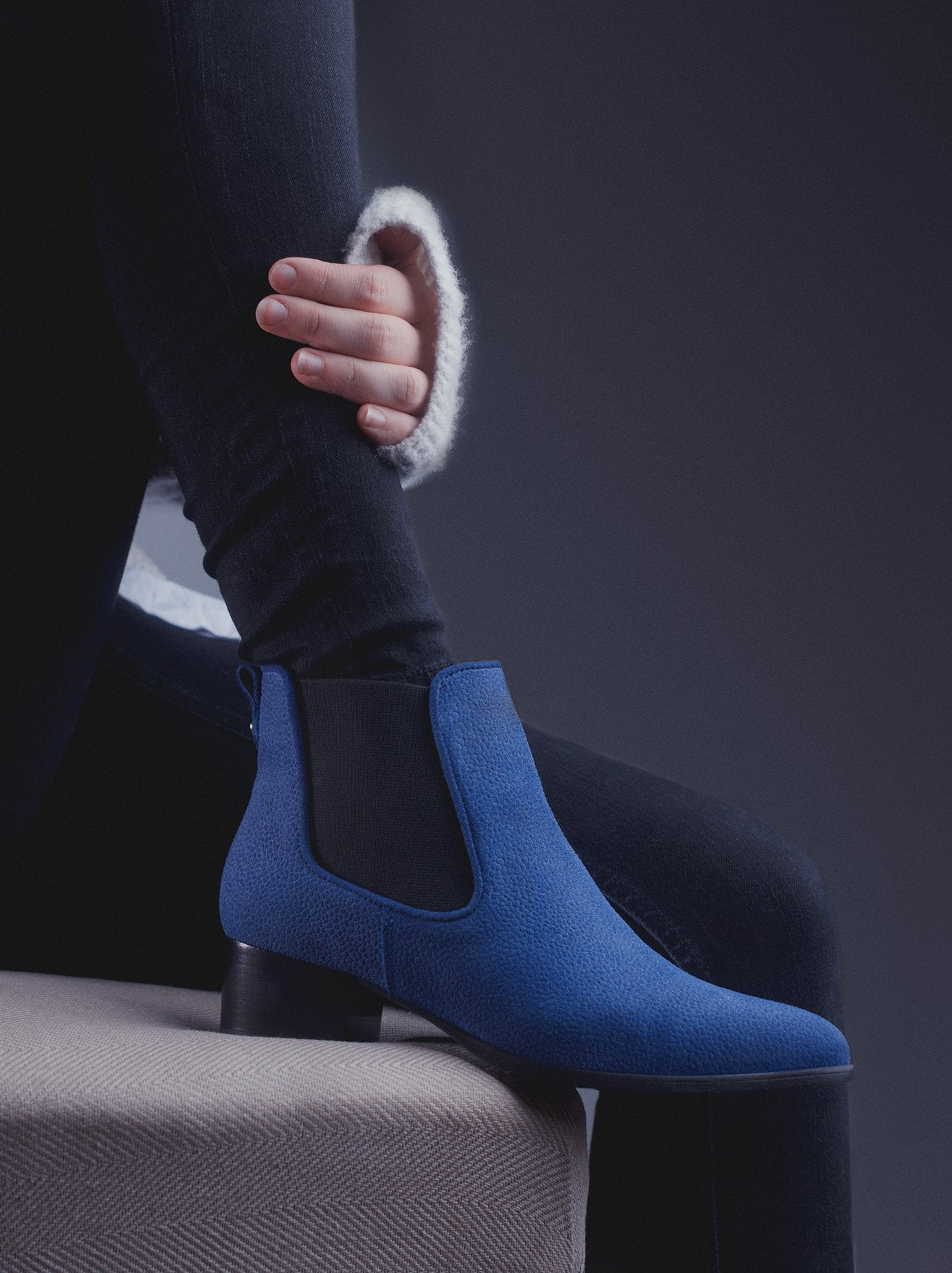 Pixie Blue Embossed Suede - Chelsea ankle boots with pointed toe - web exclusive.