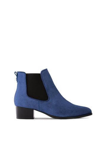 Pixie Blue Embossed Suede - Chelsea ankle boots with pointed toe.