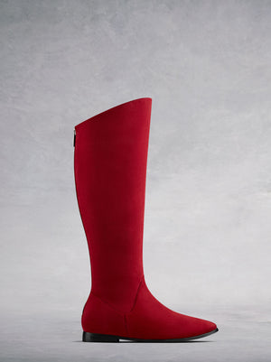 Raven, our flat red suede boot with a hidden wedge to give you a little more lift. Available in a wide range of calf sizes.