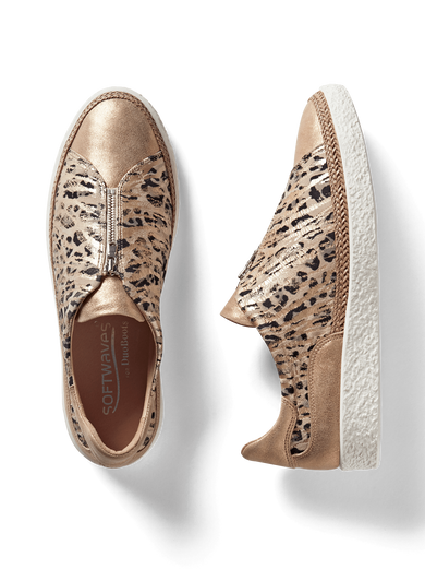 Ryde, a stylish rose gold trainer with a safari print and central zip detailing.