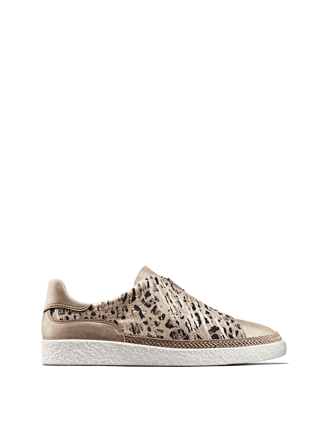 Ryde, a rose gold trainer with on-trend safari and metallic details.