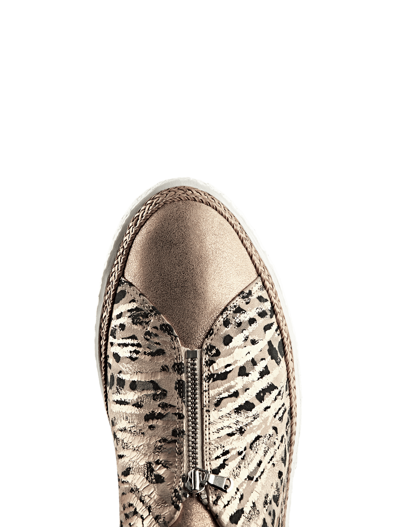 Ryde, a stylish rose gold trainer with a central zip and metallic safari design.