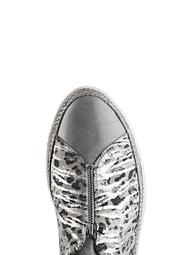 Ryde, a stylish silver trainer with a central zip and a metallic safari design.