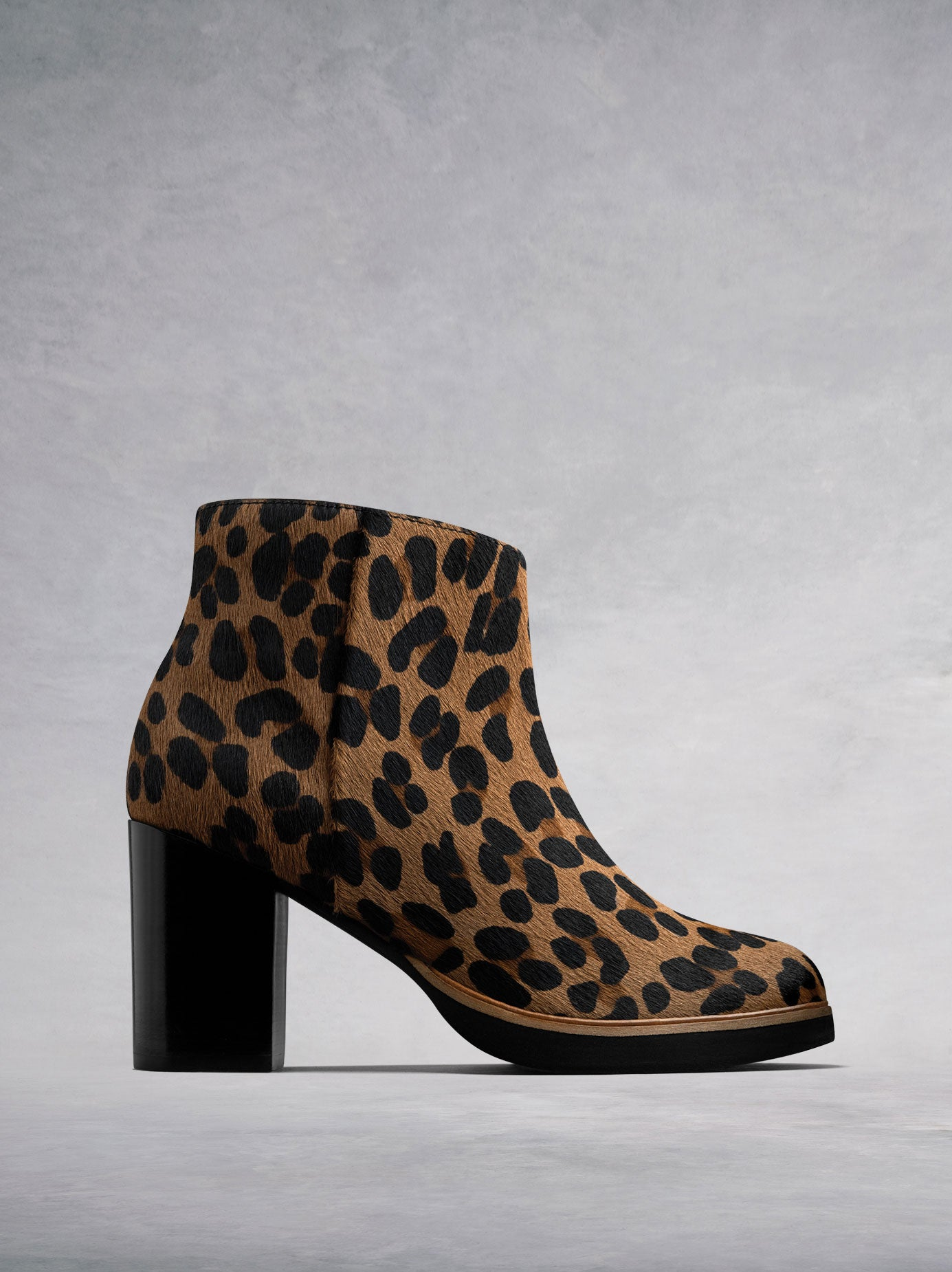 The Ryton - a statement leopard hair leather high heeled ankle boot.