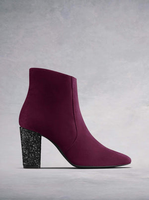 Sarsgrove are our luxury high heel ankle boots in burgundy suede with statement glitter heel.