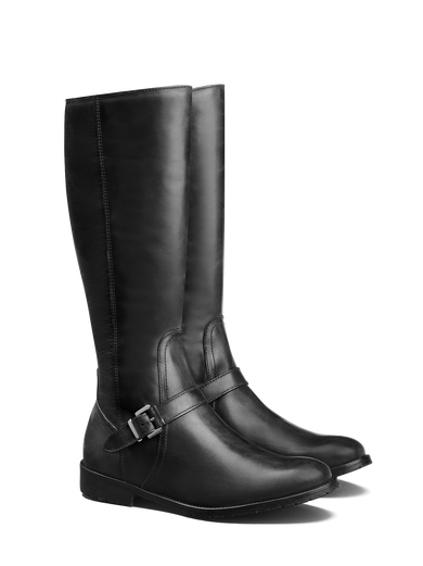 Sherwood, a classic knee high black leather boot with buckled strap detailing.