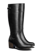 A versatile mid heel black boot that can be worn comfortably everyday.