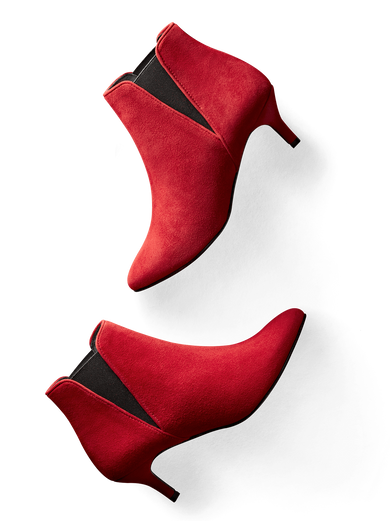Somerton, our kitten heel Chelsea boot, an elegant statement in soft bright red.