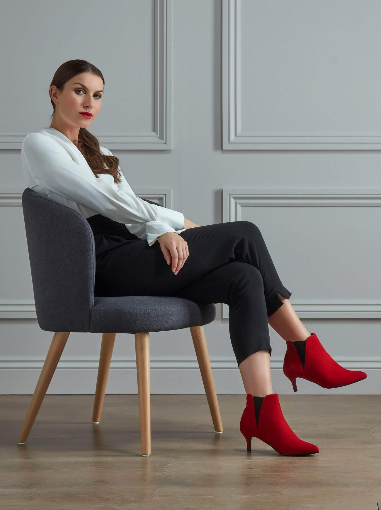 Somerton in soft bright red suede will get you noticed in party season.