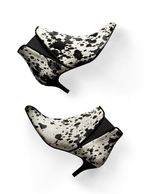 Somerton, our kitten heel Chelsea boot in eye-catching cow print hair leather.