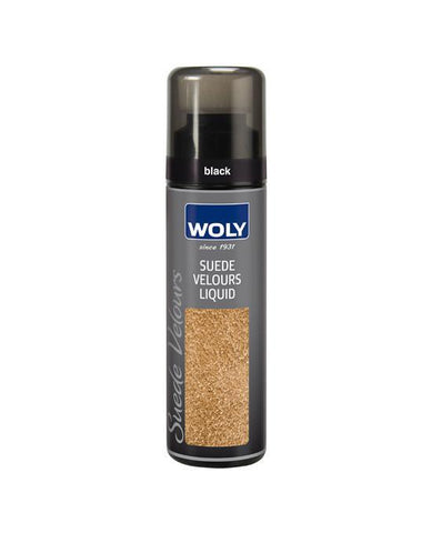 WOLY Suede Protect 75ml Black - High-quality suede and nubuck leather renovator.