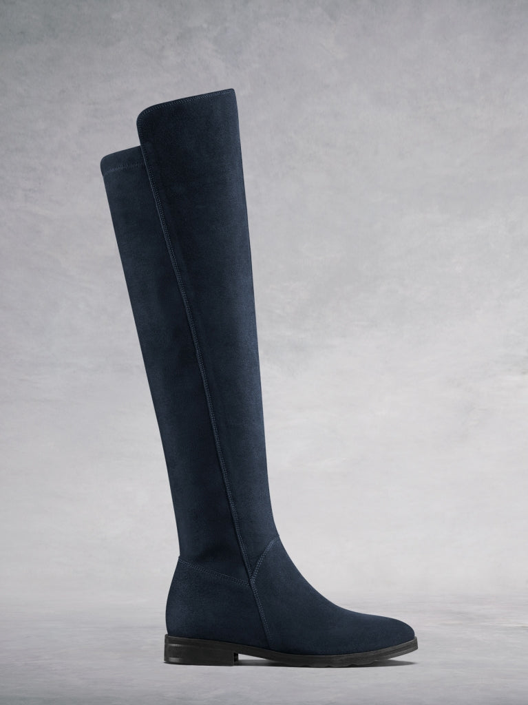 Tunstall, our beautifully versatile navy suede over the knee boot.