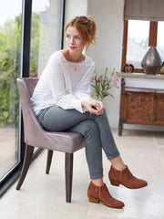 The elegant Albus in tan suede is easy-to-wear with a practical low-heel.