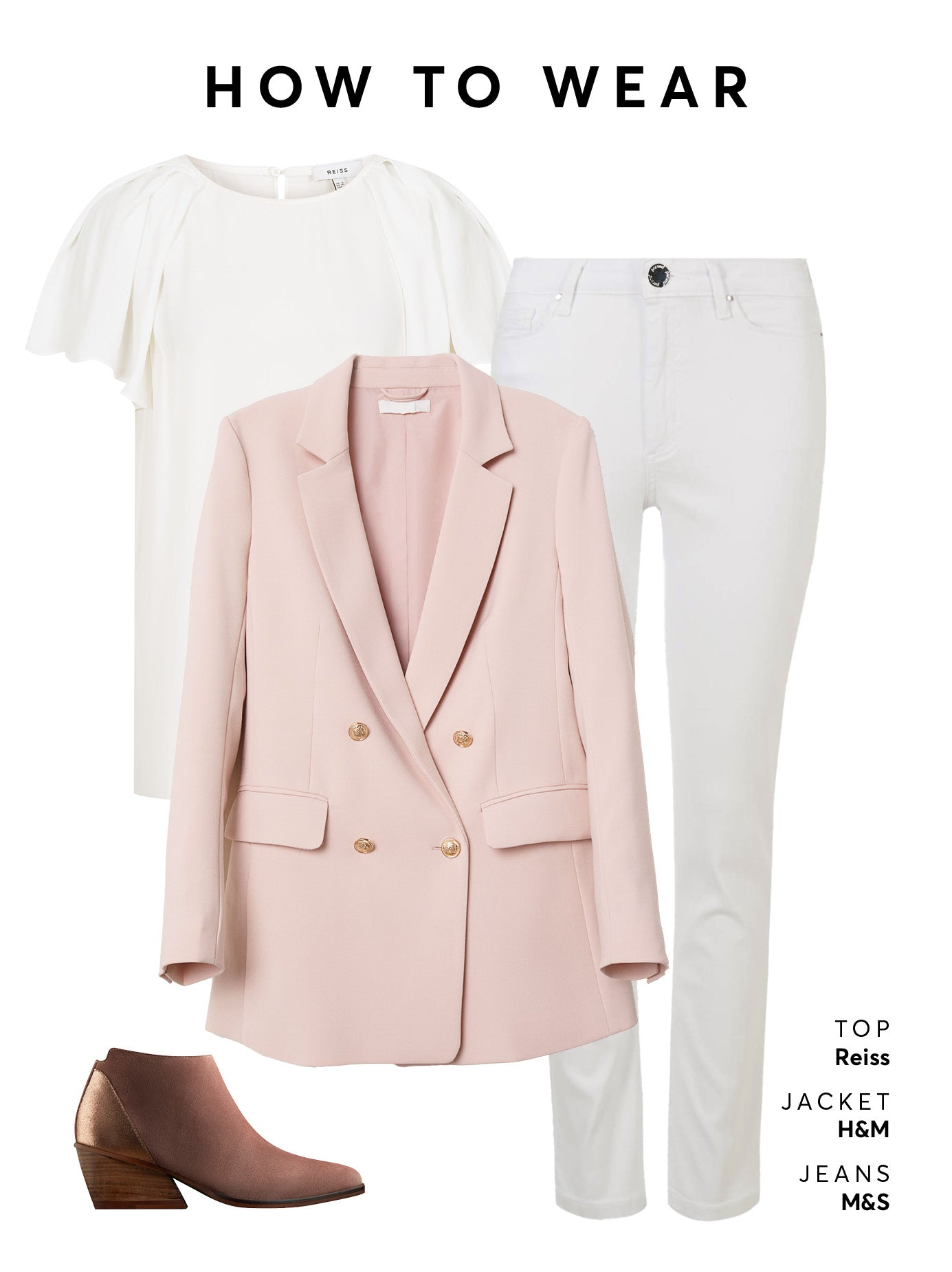 Wear with jeans of your choice, a plain t-shirt and an oversized blazer.
