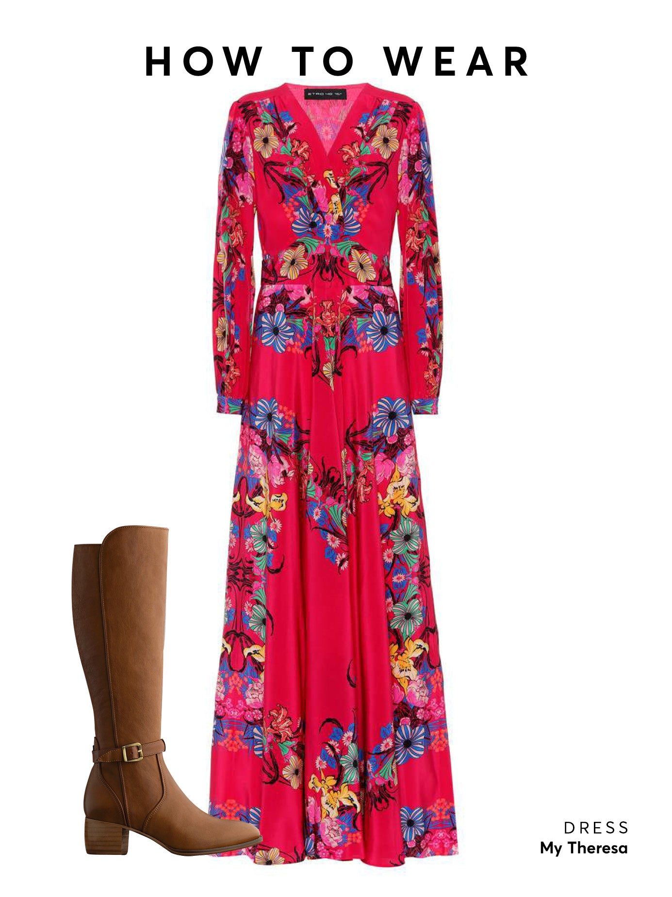 Wear this brown boot with a floral midi or maxi dress to get this look.