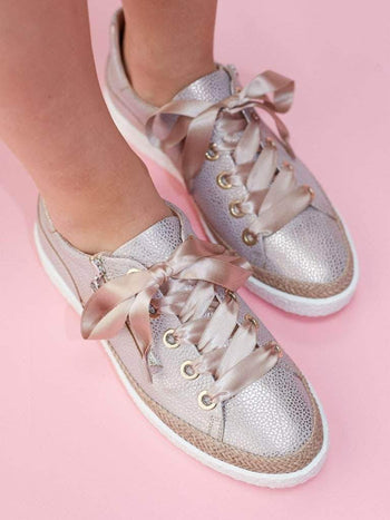 Harlyn Rose Metallic Leather - Statement trainer in rose metallic leather.