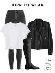 Wear with grey jeans a white t-shirt and leather jacket for biker style.