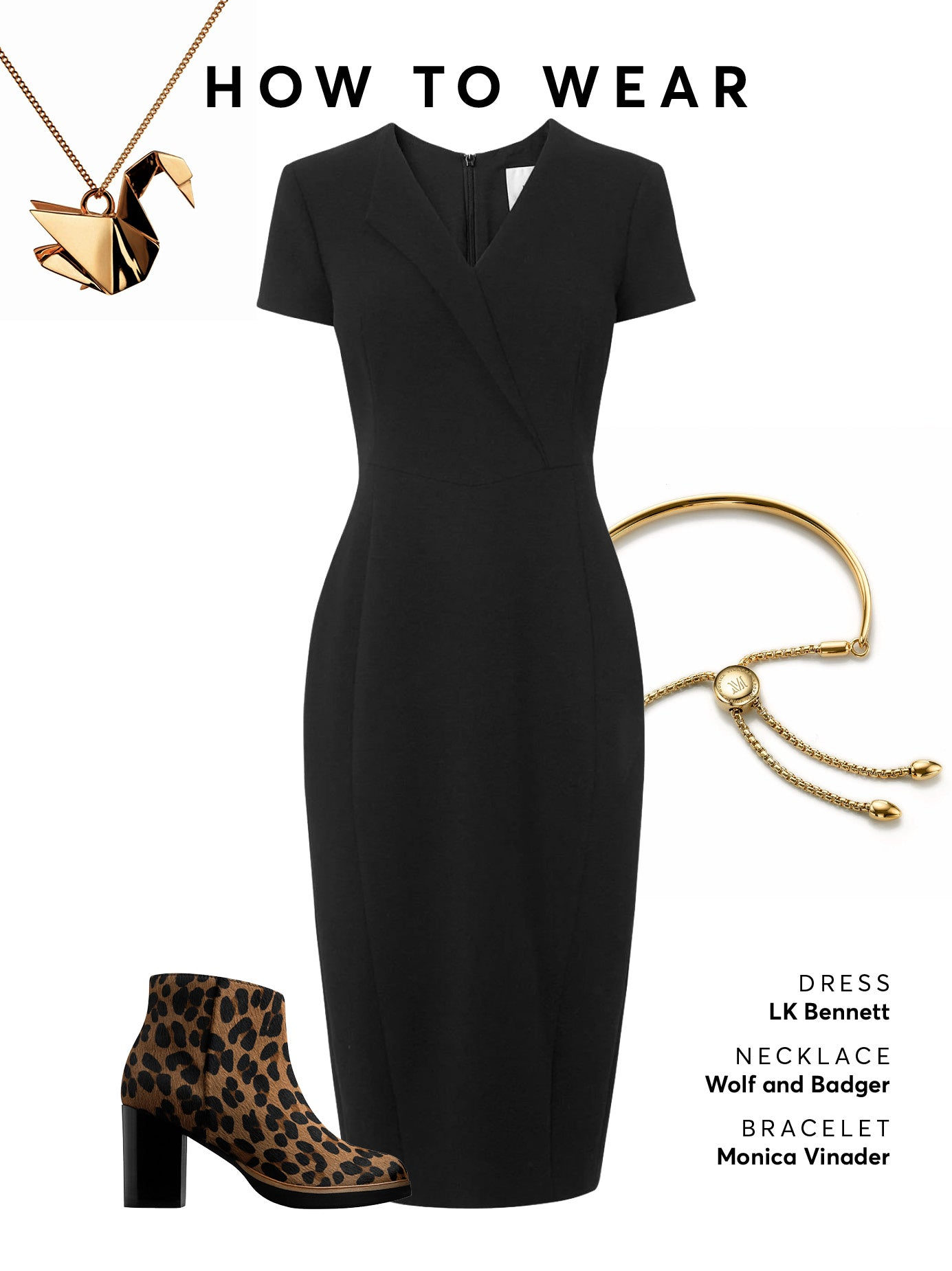 Wear with a black midi dress or skirt and statement gold jewellery.