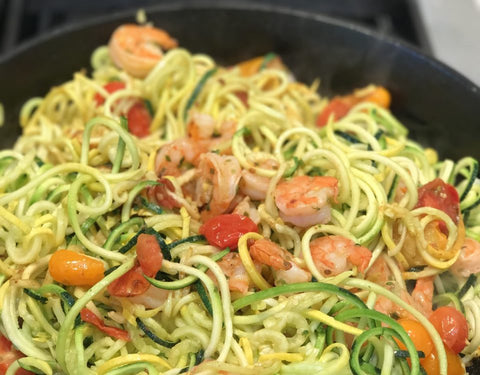 Zucchini Noodles with Baked Shrimp & Rainbow Tomatoes