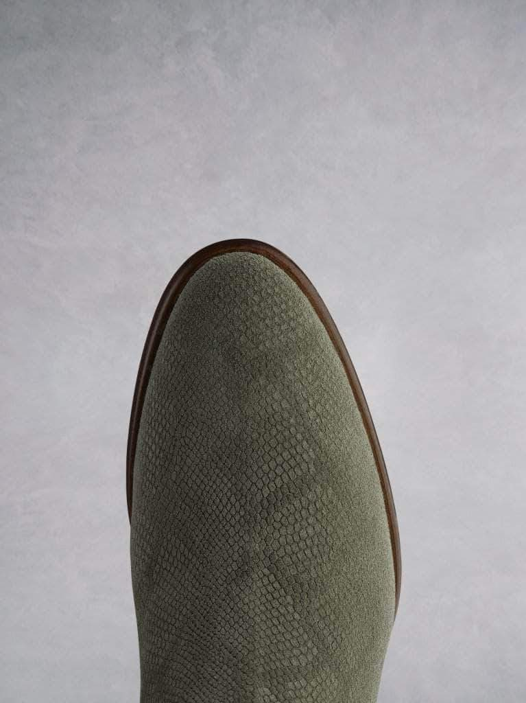 Albus khaki lizard embossed suede is very versatile and has an almond shaped toe.