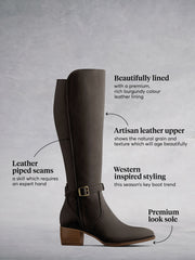 The brown leather boot has a contrasting lighter brown premium sole.