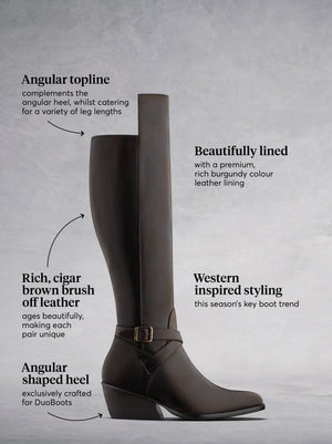 The Highgate, a luxury knee high riding boot in rich cigar brown leather.