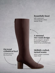 Langley Burgundy Leather - Knee high boots with round toe and stacked heel.