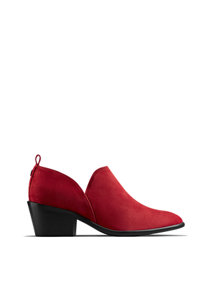 Avalon, a stylish shoe bootie slip on, in soft red suede.