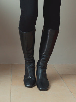 Aversley Black Leather - Simple, classic knee high boots with square toe