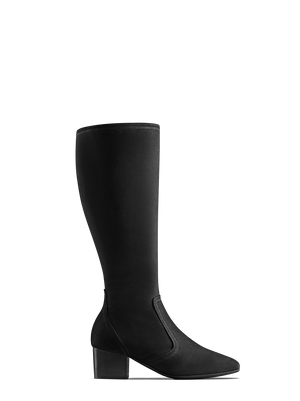 Aversley Black Suede - Simple, classic knee high boots with square toe