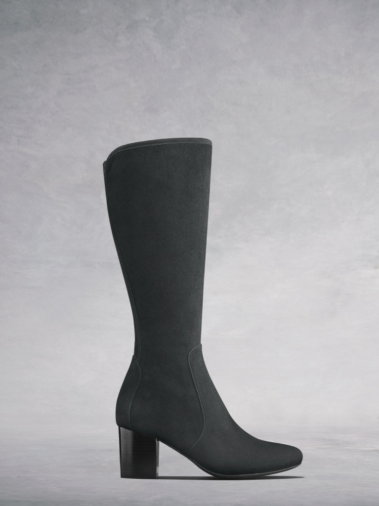 The Avocet, a knee high grey soft suede boot with a block heel.