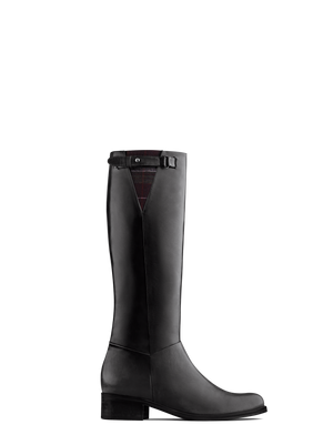 Axbridge Black Leather - Smart knee high riding boot with tweed detailing