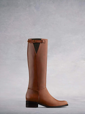 Axbridge, our smart tan leather knee high riding boot with tweed detailing. Available in a wide range of calf sizes.