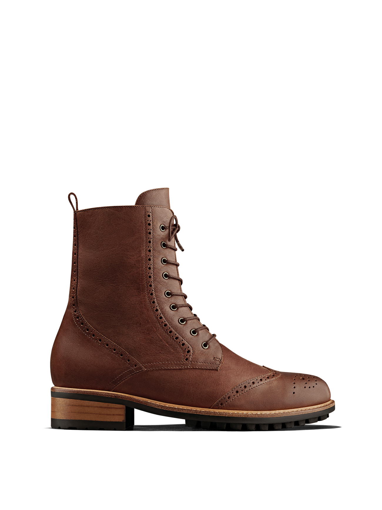 Balla, our brogue inspired chestnut leather lace up ankle boot.