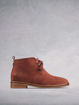 Barton, our tan suede chukka boot with a crepe sole.