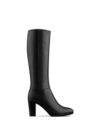Belmore is our chic sophisticated black leather platform knee high boot.