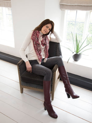 Belmore Bordeaux Leather - Sophisticated platform knee high boot