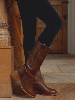 Brampton Tan Leather - Mid calf casual Western-inspired boots