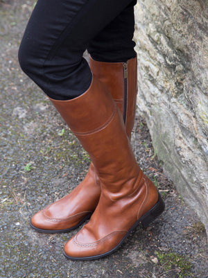 Cabell Chestnut Leather - Knee high boot with brogue detailing