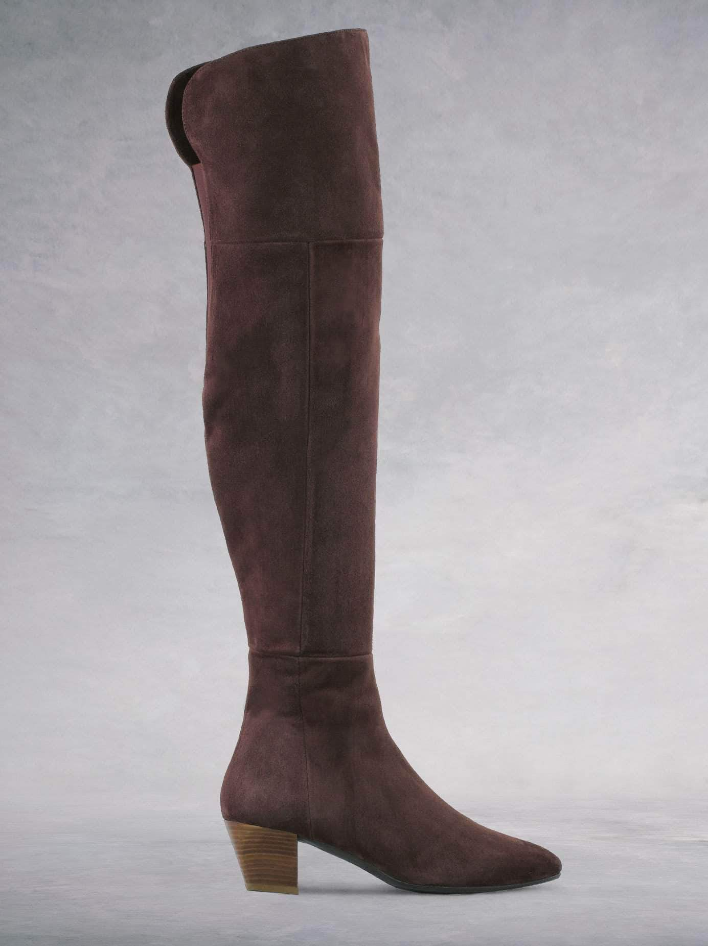 Curve Fig Brown Suede - Over-the-knee suede boots with low heel.