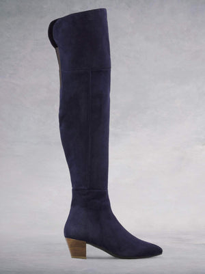 Curve Navy Suede - Over-the-knee suede boots with low heel.
