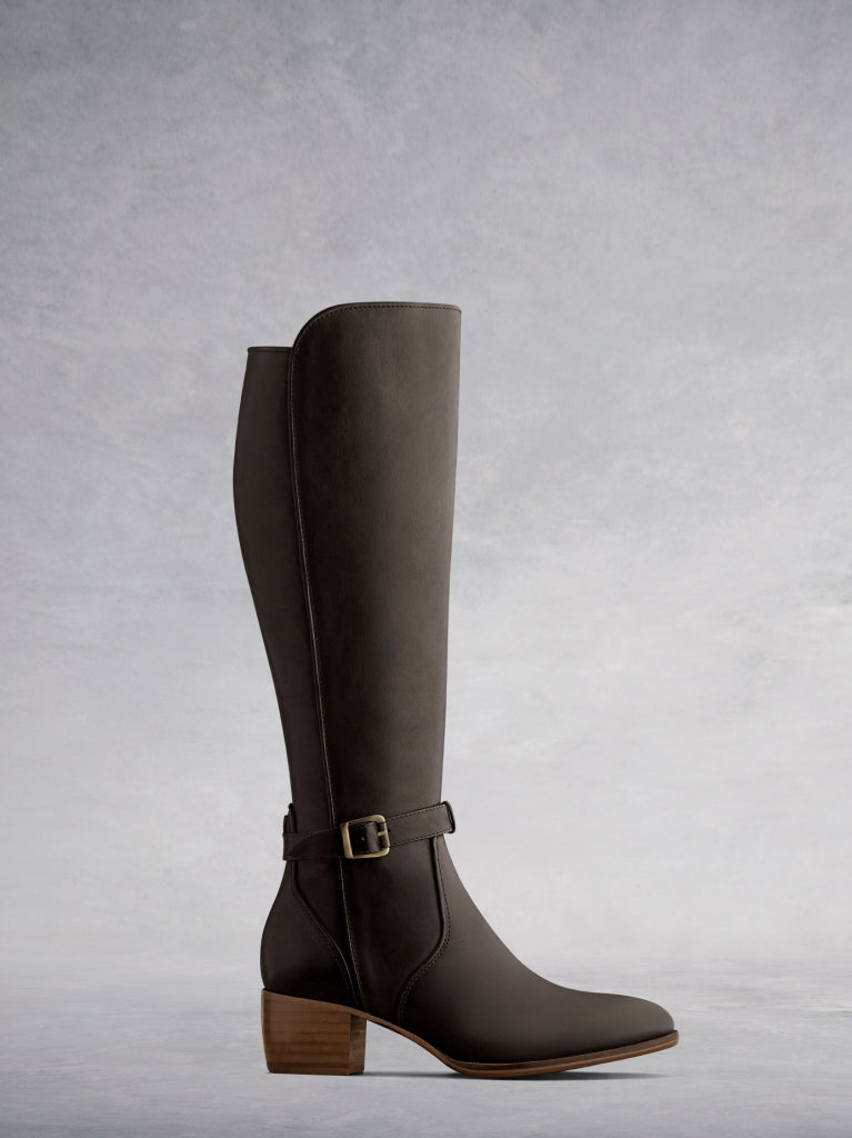 The Dallington, a western inspired knee high boot in artisan brown leather.