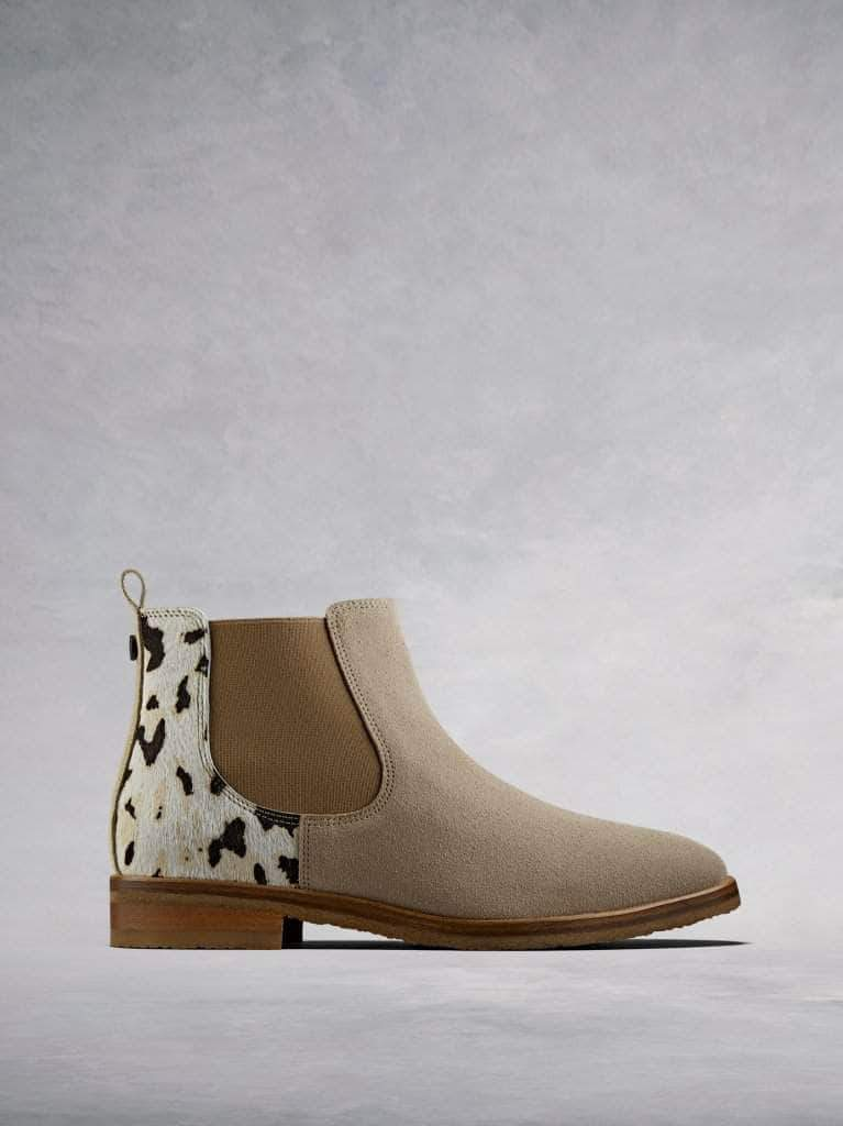 The Darwin, a versatile sand suede Chelsea ankle boot with a twist.