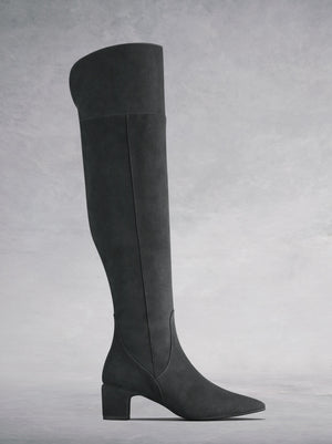 Fernworth Grey Suede - Low-heeled grey suede over-the-knee boots