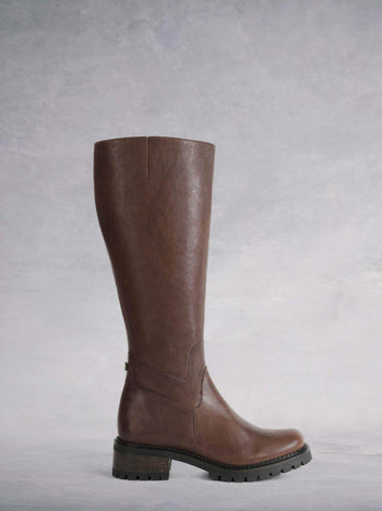 Finch Cigar Brown Leather - Long leather boot with heavy tread sole and round toe.