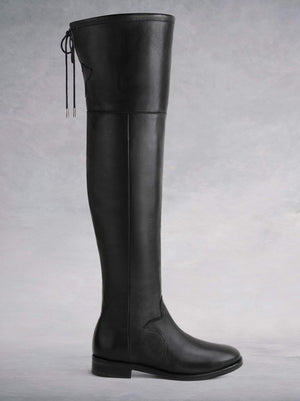 Fuller Black Leather - Over-the-knee boots with thick rubber sole.