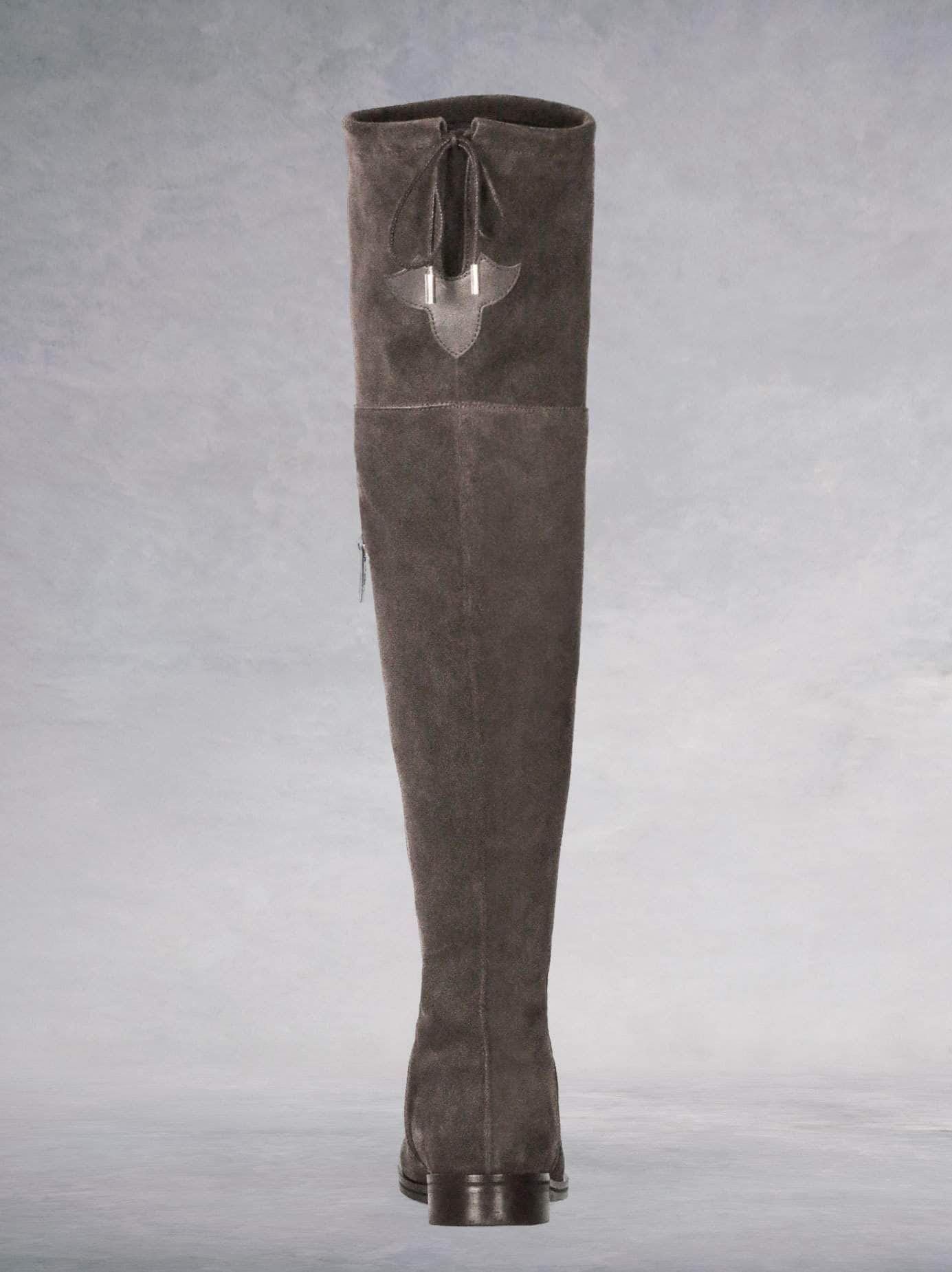 Fuller Taupe Suede - Over-the-knee boots with thick rubber sole.