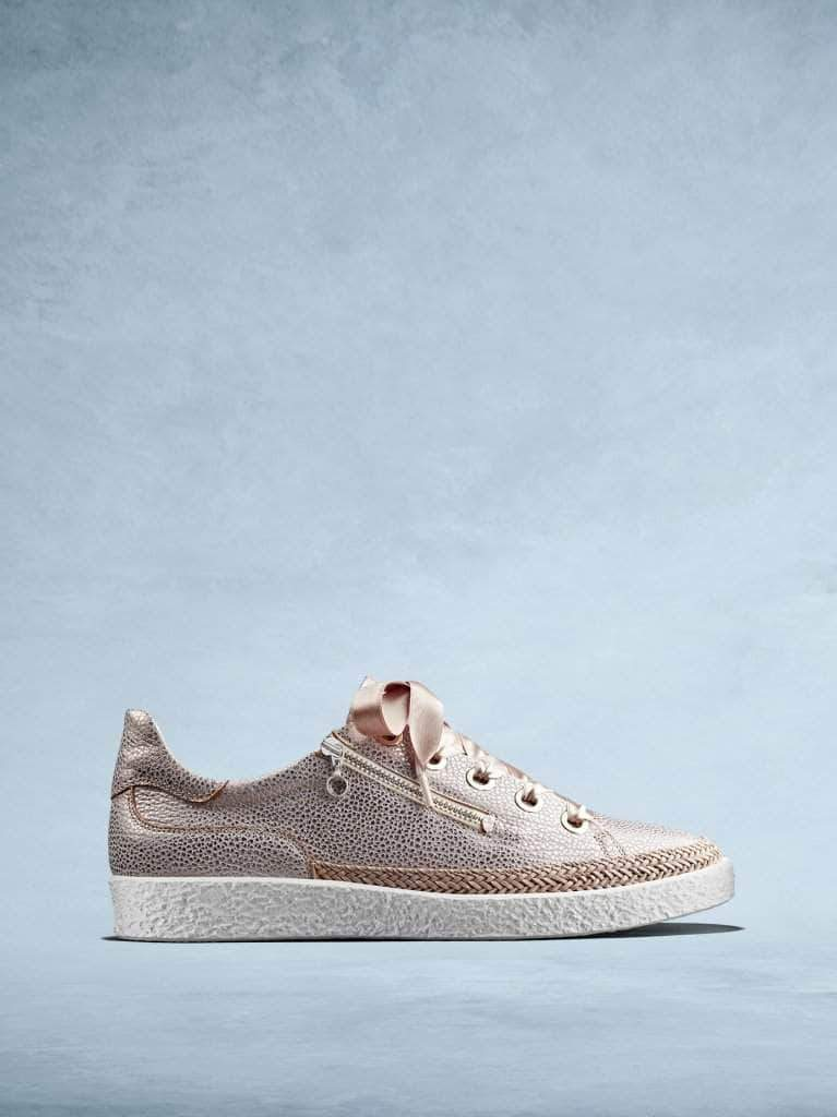 Harlyn is our lace-up textured rose gold leather trainer with a side zip.