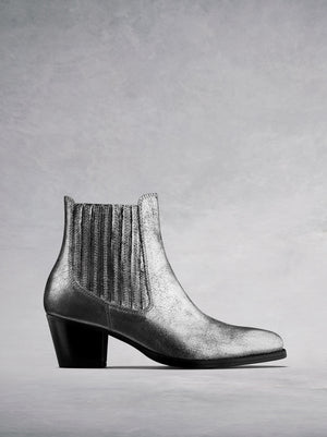 Hockley Silver Leather - Statement ankle boots with Cuban heel.