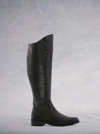 Huntsman Black Mock Croc Leather - Flat, knee-high classic leather riding boots.